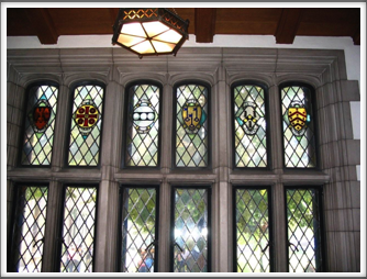 University of Pittsburgh:  Nationality Classroom/Stained Glass Windows With Crests