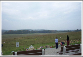 9/11 Flight 93 National Memorial:  Impact Site (near center of field just below trees)