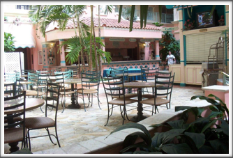Embassy Suites:  Courtyard Eating Area