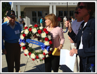 WWII Memorial: Pat Bender & Oflag 64 Wreath