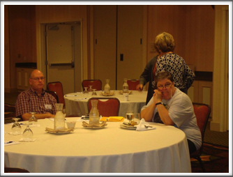 Business Meeting - Bill Caldwell, Janet Ellsworth, Anne Kreutzer & Virginia Scofield in background