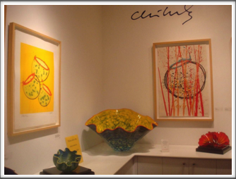 Chihuly Museum - paintings and glasswork on display in the museum lobby
