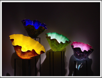 Chihuly Museum - glasswork lit from above to enhance the beauty of the work Google Photo