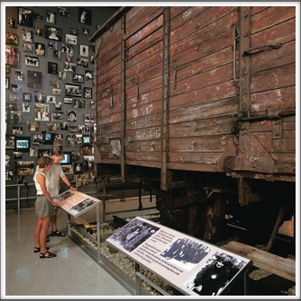 Holocaust Museum - boxcar and displays (Google Image - photos were not allowed within the museum itself)