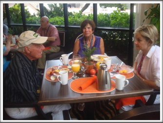 Breakfast in the Hilton's Tangerine Room Seated l=r:  George Rosenthal, Arlene Rosenthal, Anne Kreutzer.  Background:  Bill Caldwell