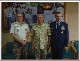 MacDill AFB coalition leadership l-r:  Brigadier General Jens Praestegaard from the Netherlands Colonel Dylong from Poland, Colonel Lenny Richoux from the USA