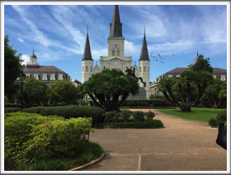 Beautiful Jackson Square with St. Louis Cathedral standing tall in the middle