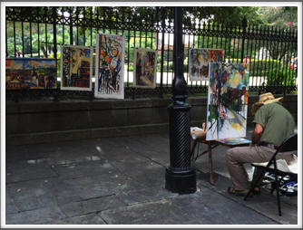 Art vendor at Jackson Square