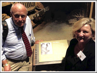 Pat and Martha at the Campaign of Courage Building/Road to Berlin exhibit featuring Pat's father, Kriegy John Waters