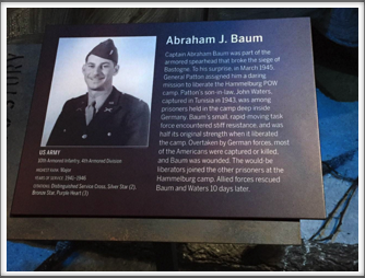 The late Kriegy Abe Baum featured at the Campaign of Courage Building/Road to Berlin exhibit