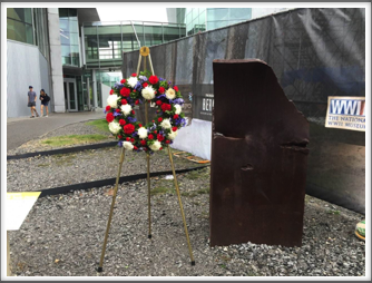 Wreath laid near the Museum on September 11.  This wreath was laid outside the museum next to a 5-ton piece of steel from one of the twin towers.