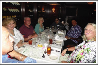 Early arrivals at dinner Wednesday - Pat & Martha Waters, Warren Jones, Evie & Alan Dunbar, Dondino Melchiorre, Kay Cruise
