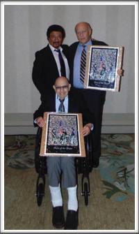 """Faces of the Brave"" 9-11 artwork presented to Alan Dunbar and Pat Waters by Dondino Melchiorre"