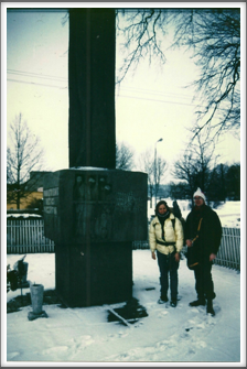 Lisa Job and Polish friend at the POW Monument