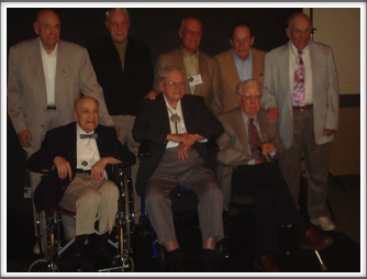 "2010 Dallas Reunion Standing l-r: Sid Thal, Ray Klinkenborg, George Rosenthal, Bob O'Neill, George Myron.  Seated l-r:  ""Doc"" DiFrancesco, Herm Littman, Bob Thompson"