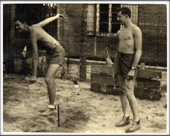 October 7, 1944 American POWs pitching horseshoes outside barracks