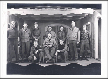 Stage Crew Standing back row l-r:  John Glendinning, Seated on the chair-center:  Lou Otterbein with Ray Goad (wearing the hat) kneeling at his left and Al Winwood kneeling at his right; others possibly included:  Joe Barrett, Zoltan Takacs, Wally Wilson and John Hannan
