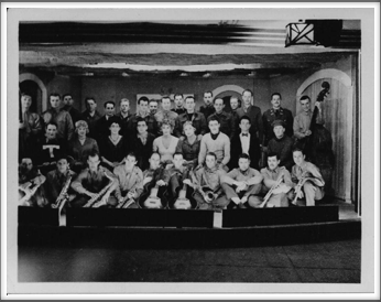 "1944 - ""Your Kind Indulgence"" variety show Jim Cockrell on bass Roy ""Tex"" Chappell on trumpet, Lou Otterbein, back row, second from right"