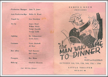 "October '44 - ""The Man Who Came To Dinner"""