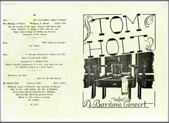 "Tom Holt  ""A Baritone Concert"" Program Unknown Date"