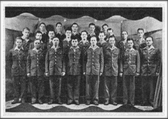 Glee Club l-r:  Front Row - Sharpe, Johnson, Jones, Bolten, Carlson, Waful, Cipriani, Ford (director). 2nd Row - Carpenter, Willis, Thal, Holt, Holder, Stetson, Truett, Fraser, Campbell. 3rd Row - Hooker, Maxwell, Farber, Davis, Fabian.  If you have an original of this photo, please contact us.