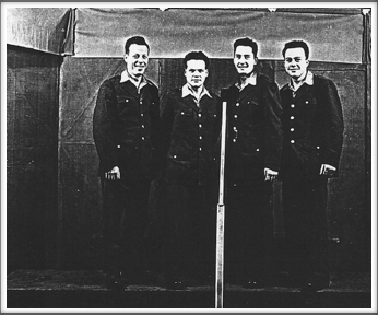 Kriegy Singers l-r:  Don Waful, Wilbur Sharpe, Frank Maxwell, Russell Ford.  This photo was submitted as a photocopy.  If you have a copy of the original and can confirm the names of these singers, please contact us.