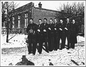 1943 Basketball Champions-Phillips 66, l-r:  E. Berlinsky (captain), J. Creech, B. Bingham, J. Shinn, A. Knapp, H. Holder, W. Luttrell, W. Curtis.  (Not pictured, Leo Farber, also a Phillips captain.) If you have an original of this photo, please contact us.