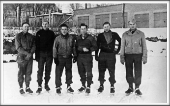 Oflag 64 Ice Skaters  -  l-r:  Harry Frazee, William Guest, Jr.,  John Creech, William Burghardt, Gaither Perry, Jr., Fay M. Straight