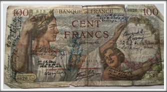 100 Franc note with Oflag 64 Kriegy signatures