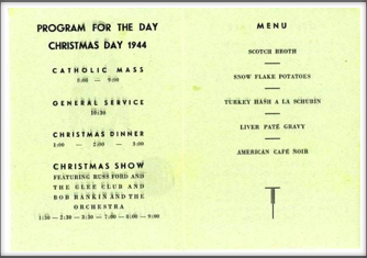 Program for the Day Christmas Day 1944:  Seymour Bolten collection