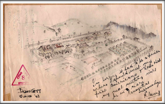 Drawing of Oflag 64 by a British soldier in June 1943