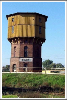 "Station tower. By looking closely you can see ""Szubin"", painted over the German renaming of the town, ""Altburgund"""