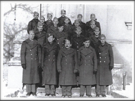 *NEW* Front l-r:  Graham, Ferguson, Lt. Col. Charles Jones, Berry, Davis; 2nd row l-r: Hart, William Swanson, Ted Roggen, Young; 3rd row l-r: Lawrence Brant, Williamson, Arthur Morrow, Bond, Ivan Carlisle; Top l-r: John Hannan, William Haag, Curtis , Len Vaden, Robinson