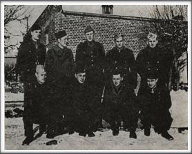 This photo was taken in February 1944.   (If you have an original, please contact us.)  Front l-r:  Harold Tallman, Carl Burrows, Henry (Gaither) Perry, Sid Waldman;  Back l-r:  William Guest, Stephen Kane, Robert Aschim, Anthony Cipriani, Frank Aten.