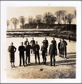 Ice Hockey Team l-r:  William Burghardt, 5th one in.  Please help us identify other skaters.