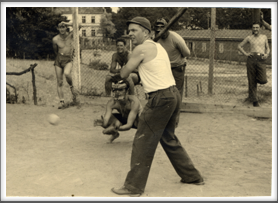1943-44 American POWs playing baseball on the sports ground