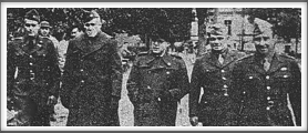 From Red Cross Bulletin 1/45 - 8/45, taken October 17, 1944  L-r: Lt. Col. John K. Waters, Col. Paul Goode - Senior American Officer, Mr. C. Christiansen - War Prisoners Aid of the YMCA, Lt. Col. W. H. Schaefer, Col. George V. Millet (If you have an original  of this photo, please contact us.)