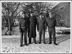 Photo taken 1/1944.  Please help us identify these men.   l-r:  2nd from left Seymour Bolten