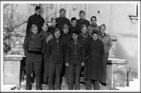 First American officers assigned to Oflag 64  in June 1943  Front l-r: Lts. Gaither Perry, Jr., John Creech, Sid Waldman, Edwin O. Ward;  2nd Row l-r:  William Burghardt, Edward Spicher, Anthony Cipriani, James Bancker;  3rd Row l-r:  Robert Bonomi, Carl Burrows, Frank Tripp;  4th Row l-r: William Guest, Robert Oshlo, Robert Aschim
