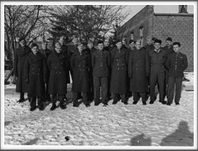 Photo taken 1/1944 Please help us identify these men. Front row l-r: 3rd from left John Creech, 4th from left Seymour Bolten, 2nd from right Roy Chappell
