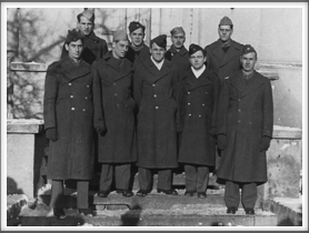 Mess 25, Fall 1944 Front l-r:  Charles Dunn, Secor, Roy Chappell, William Higgins, Harold Craft;  Back l-r:  John Glendinning, Jim MacArevey, Murphy, Russell Bissman.