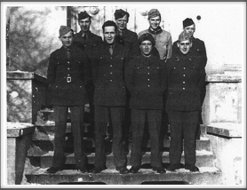 Front l-r:  Woodley Warrick, Ormond Hessler, Ronald Hardy, Smith; Back l-r:  Al Casner, Verris Hubbell, William Hanson, Donald Rockwell