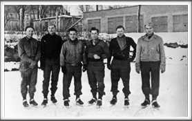 Ice Skaters l-r:  Harry Frazee, William Guest, Jr.,  John Creech, William Burghardt, Gaither Perry, Jr., Fay M. Straight
